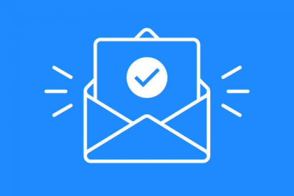 White and blue mail icon